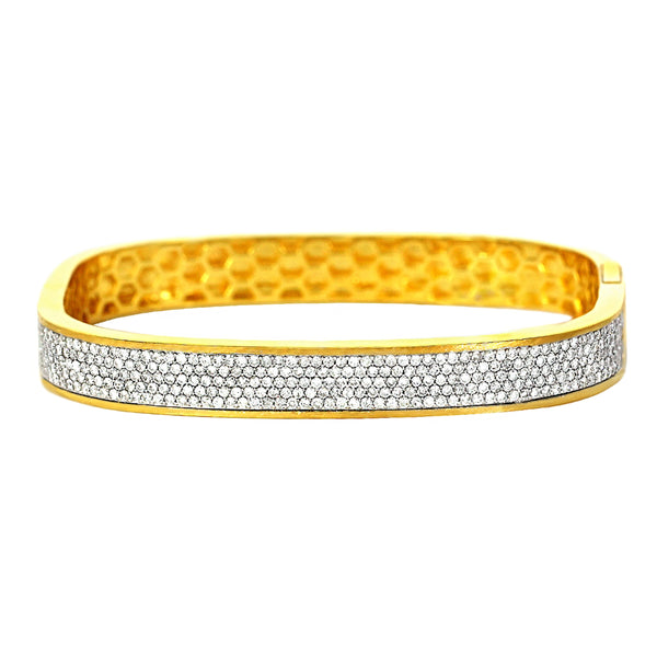 2.28ct Pavé Diamonds in 18K Yellow Gold Oval Square Bangle Bracelet 7.5""