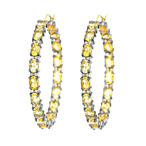 15.95tcw Oval Citrine Diamonds in 925 Sterling Silver & 14K  Gold Hoop Earrings