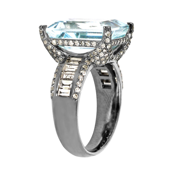 9.98tcw Aquamarine & Diamonds in 925 Sterling Silver Cocktail Ring