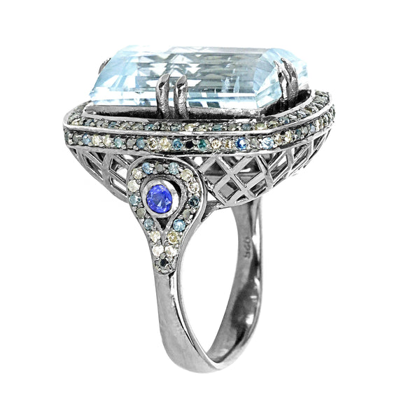 15.45tcw Aquamarine & Gemstones in 925 Sterling Silver Cocktail Ring
