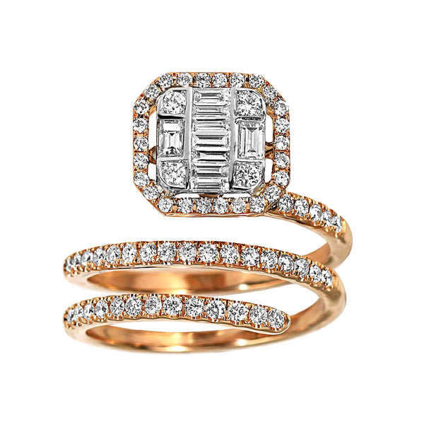 0.91tcw Round & Baguette Diamonds in 18K Rose Gold Wrap Ring