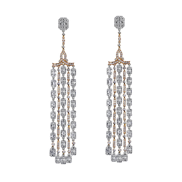 6.67tcw Round & Baguette Diamonds in 18K White Gold Chandelier Earrings