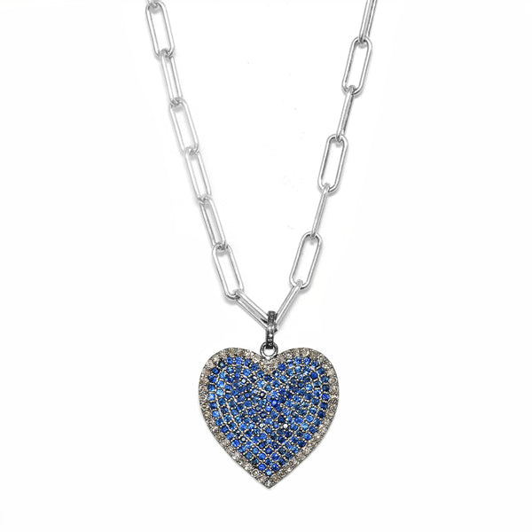 4.98ct Diamonds & Sapphires 925 Sterling Silver Hear Pendant Necklace 16""