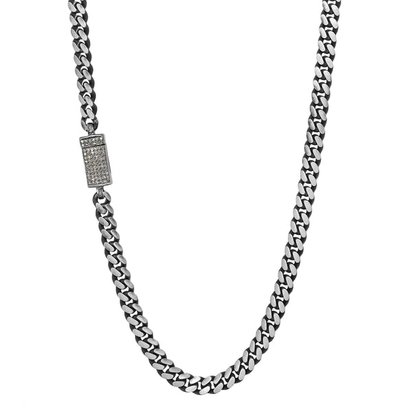 0.40ct Diamonds in 925 Sterling Silver Miami Cuban Chain Mens Necklace - 24""