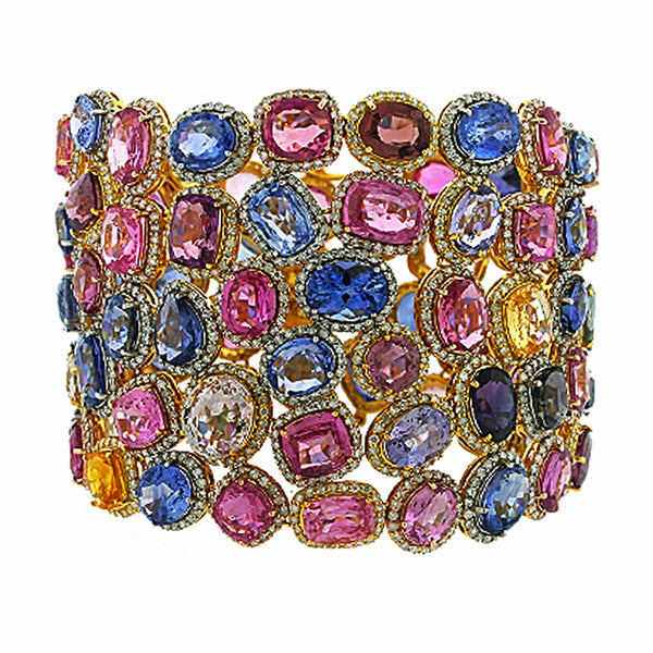 162.78tcw Rainbow Sapphires & Diamonds in 18K Yellow Gold Cluster Gemstone Wide Bracelet 7.5""