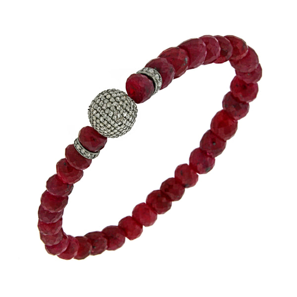 Pavé Fancy Diamonds in 925 Silver Faceted Genuine Ruby Beads Stretch Bracelet 6.5""