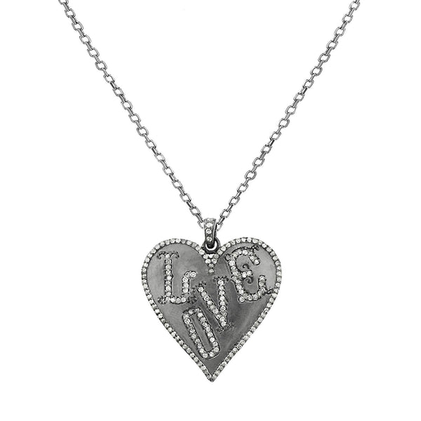 1.15ct Pavé Diamonds in 925 Sterling Silver LOVE Heart Charm Necklace