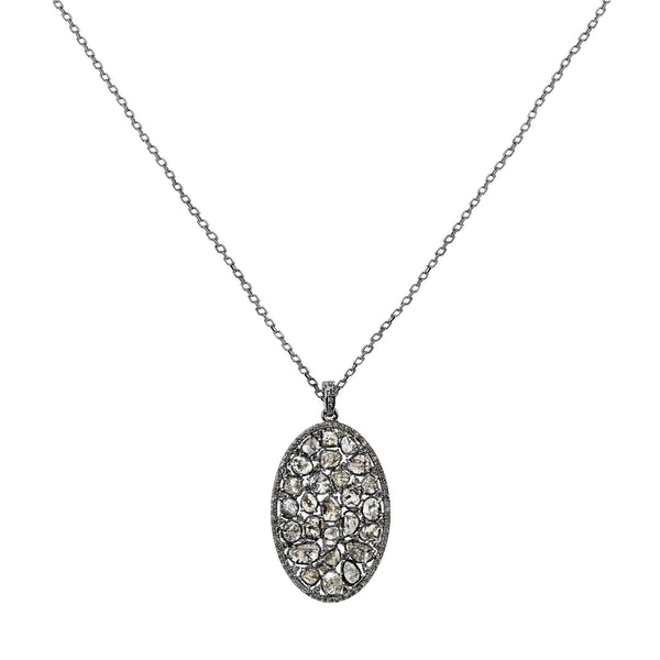3.29tcw Sliced & Pavé Diamonds in 925 Sterling Silver Oval Pendant Necklace