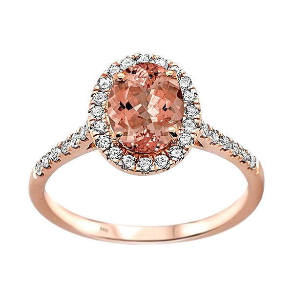 1.39tcw Oval Morganite & Diamond in 14K Rose Gold Halo Ring