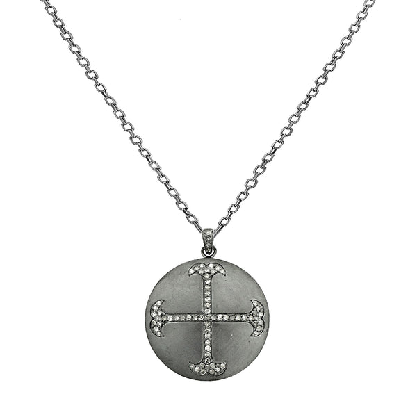 0.68ct Pavé Diamonds in 925 Sterling Silver Cross Round Medallion Charm Necklace