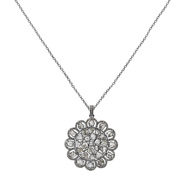 5.19tcw Sliced & Pavé Diamonds in 925 Sterling Silver Flower Pendant Necklace