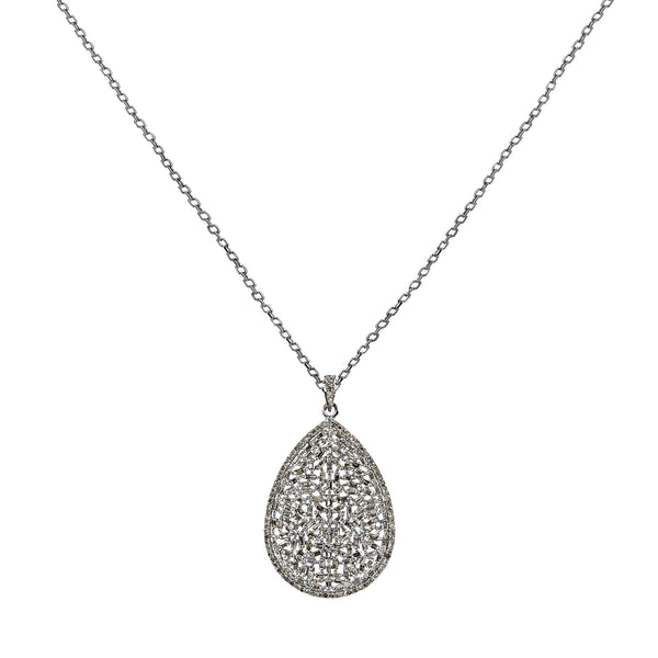 3.38ct Diamonds in 925 Sterling Silver Tear Drop Pendant Necklace