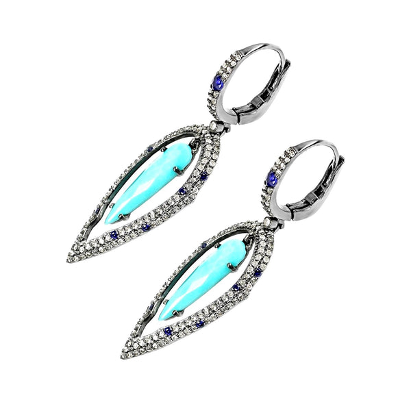 4.57tcw Turquoise, Diamonds & Sapphire in 925 Silver Tear Drop Dangle Earrings