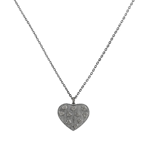 0.82ct Pavé Diamonds in 925 Sterling Silver Heart Pendant Necklace