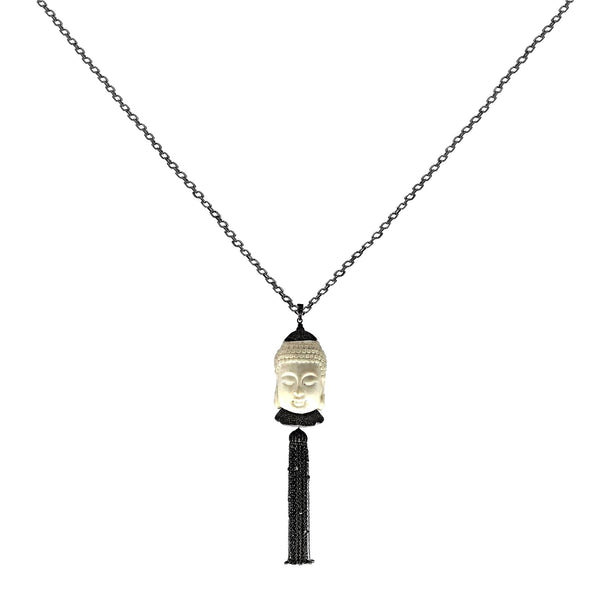 4.71tcw Diamonds in 925 Sterling Silver Bone Buddha Tassel Pendant Necklace