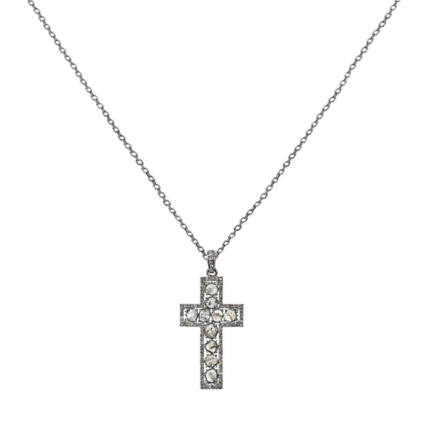2.06tcw Sliced & Pavé Diamonds in 925 Sterling Silver Cross Pendant Necklace