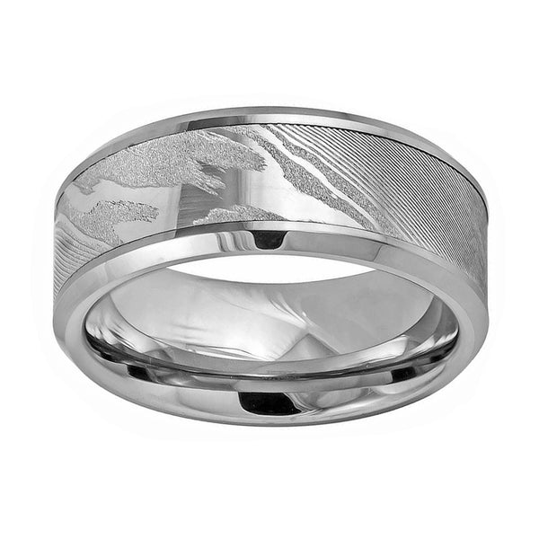 9mm Tungsten Mokume Wood Grain Pattern Men's Ring