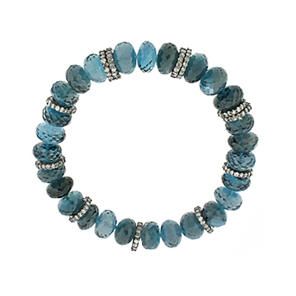 3.12ct Pavé Fancy Diamonds in 925 Silver Faceted London Blue Topaz Beads Stretch Bracelet 6.5""