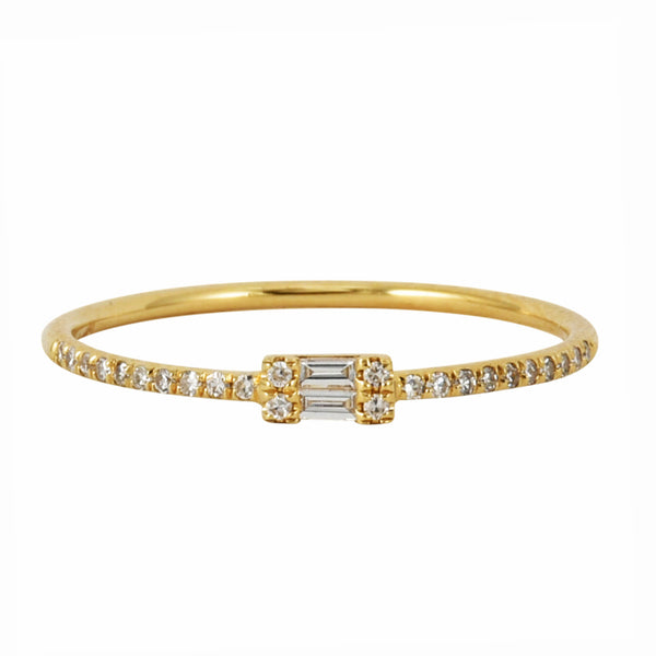 0.12ct Round Diamond in 14K Yellow Gold Mini Baguette Solitaire Stackable Ring