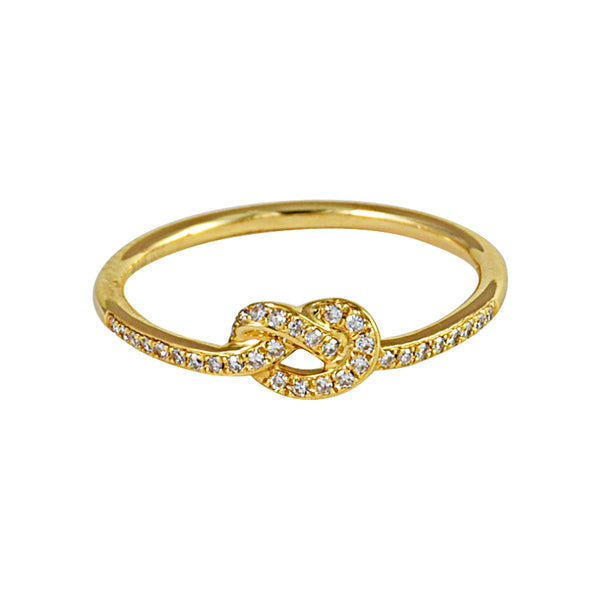 0.11ct Round Diamonds in 14K Yellow Gold Love Knot Ring