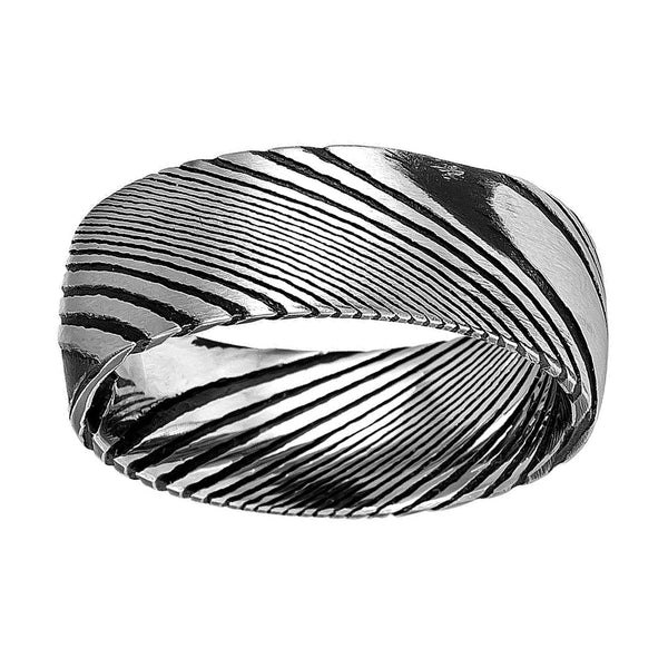 8mm Damascus Steel Burl Wood Grain Texture Pattern Men's Wedding Ring