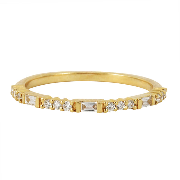 0.18ct Round & Baguette Diamonds in 14K Yellow Gold Skinny Stackable Ring