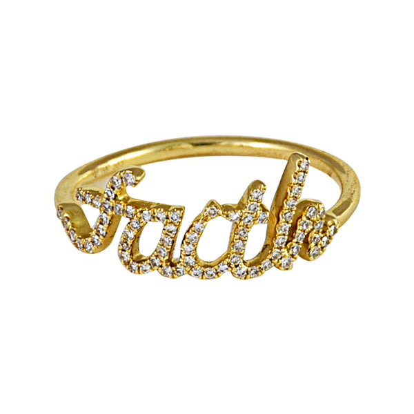0.14ct Round Diamonds in 14K Yellow Gold Script Word FAITH Statement Ring