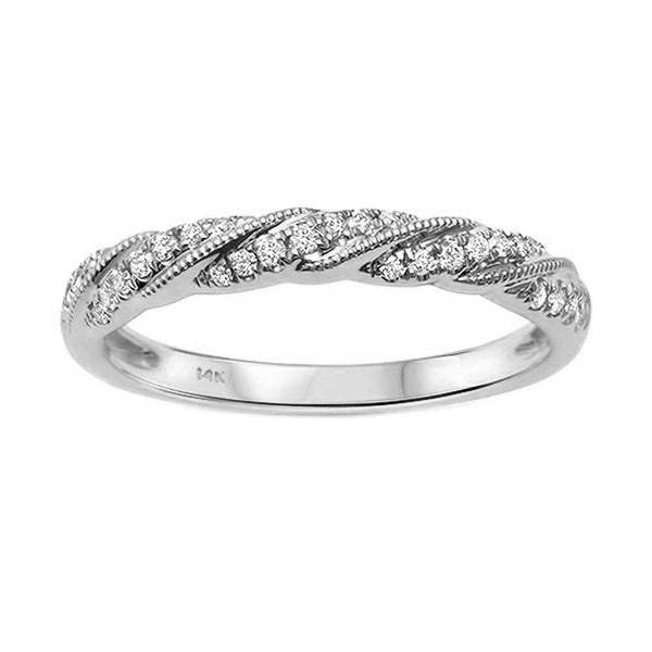 0.14ct Diamonds in 14K Gold Twisted Milgrain Band Ring