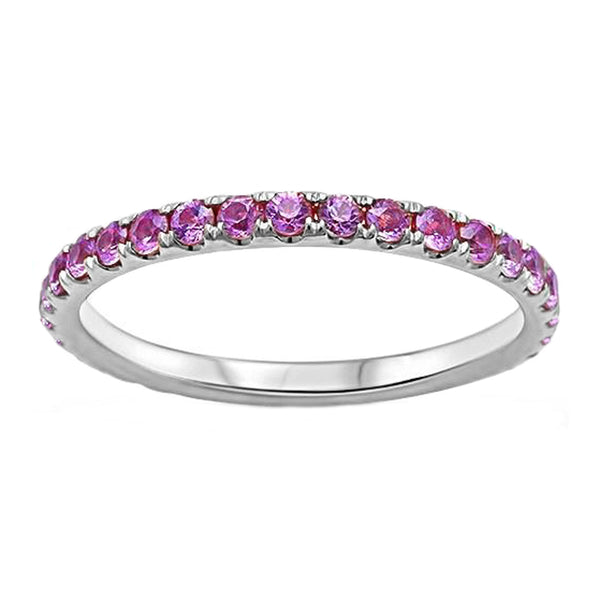 0.77ct Pavé Round Pink Sapphire in 14K Gold Half Eternity Band