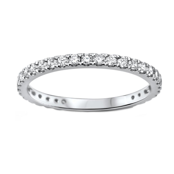 0.48ct Pavé Round Diamonds in 14K White Gold Half Eternity Band