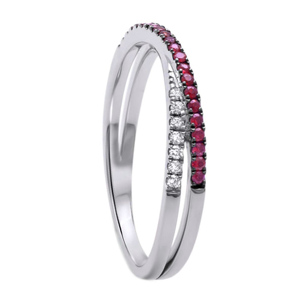 0.23ct Ruby & Diamonds in 14K White Gold Criss Cross Ring