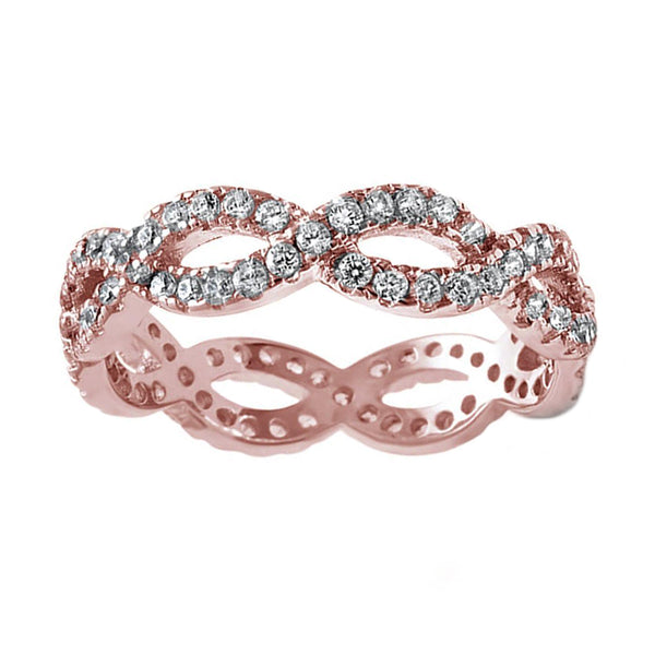 0.45ct Pavé Round Diamonds in 14K Rose Gold Braided Eternity Ring