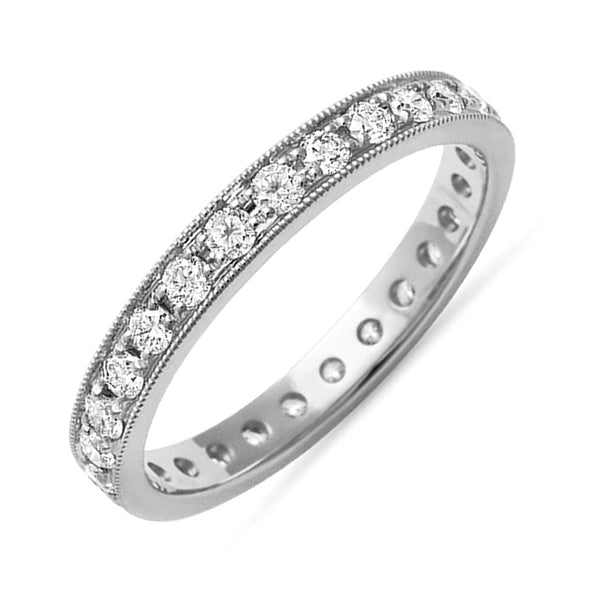 0.68ct Round Pavé Diamonds in 14K White Gold Wedding Eternity Band Ring