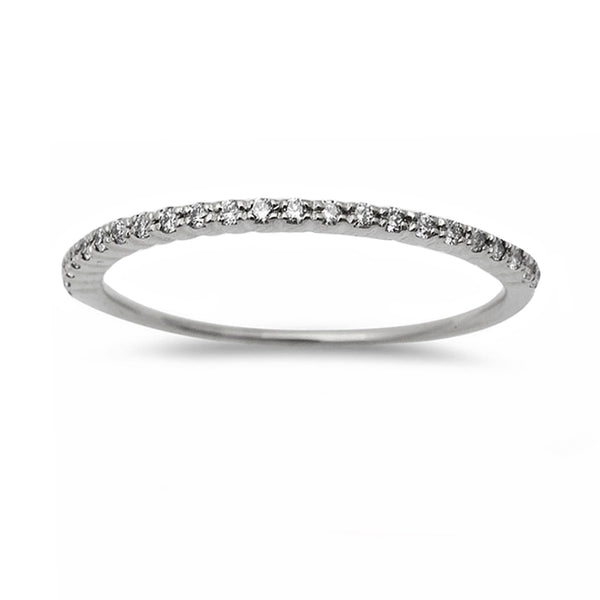 0.20ct Pavé Round Diamonds in 14K Gold Half Eternity Stackable Band Ring