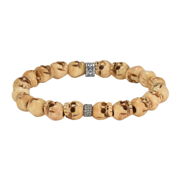 0.26ct Diamonds Spacer Charm in Skull Bone Bead Bracelet