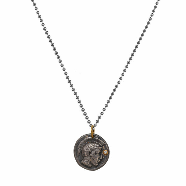 0.01ct Diamonds in 925 Sterling Silver & 24K Gold Head of Athena Coin Necklace