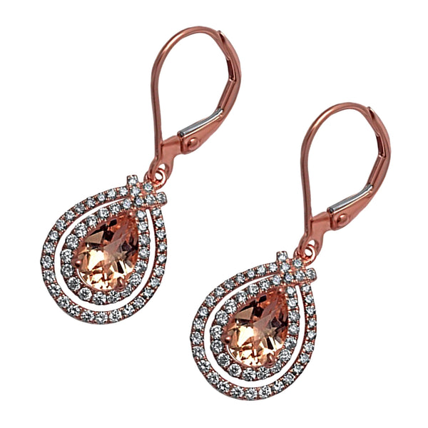 1.97tcw Pear Morganite with Diamonds in 14K Rose Gold Dangle Drop Earrings