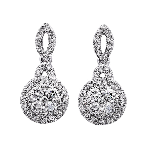 0.88ct Diamonds in 14K White Gold Halo Dangle Earrings