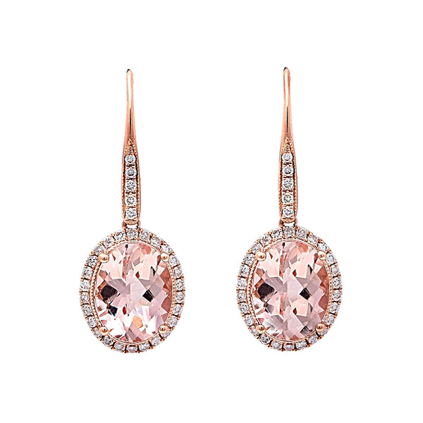 3.41 Oval Morganite & Diamonds in 14K Rose Gold Dangle Earrings