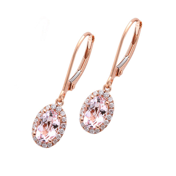 1.53 Oval Morganite & Diamonds in 14K Rose Gold Dangle Earrings