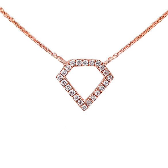 0.06ct Pavé Diamonds in 14K Gold Diamond Shape Pendant Necklace