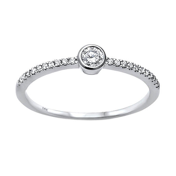 0.26tcw Bezel Round Diamond in 14K White Gold Solitaire Engagement Ring