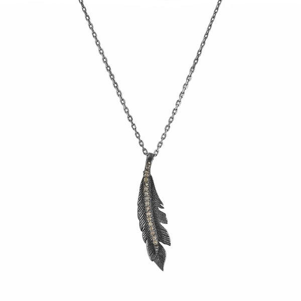 0.15ct Diamond in 925 Sterling Silver Feather Pendant Necklace