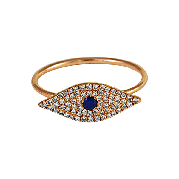 0.25ct Round Diamonds & Sapphires in 14K Rose Gold Evil Eye Trendy Ring