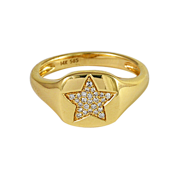 0.07ct Round Diamonds in 14K Yellow Gold Star Signet Ring