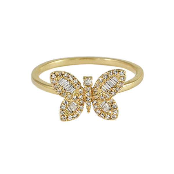0.21tcw Round & Baguette Diamonds in 14K Yellow Gold Butterfly Ring