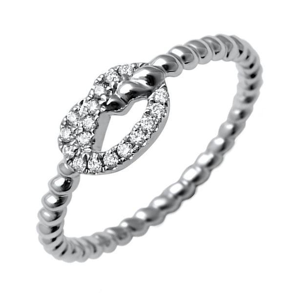 0.09ct Pavé Round Diamonds in 14K White Gold Love Knot Rope Ring