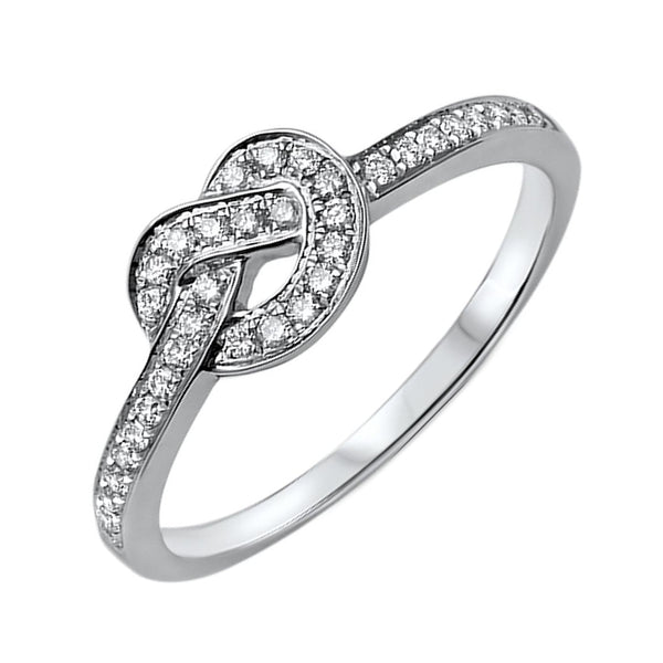 0.20ct Pavé Round Diamonds in 14K White Gold Love Knot Ring