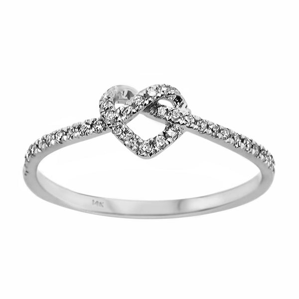 0.16ct Round Diamond in 14K Rose Gold Knotted Heart Infinity Ring