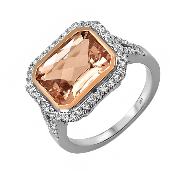4.19tcw Emeral-Cut Morganite & Diamond 14K White Gold Cocktail Halo Ring